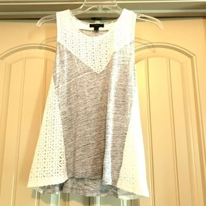 J. Crew Gray and Eyelet Top